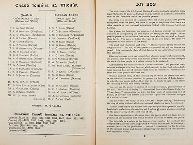 All Ireland Senior Hurling Championship Final,.Programme, .04.09.1955, 09.04.1955, 4th September 1955,.Galway 2-8, Wexford 3-13,.Minor Galway v Tipperary, .Senior Galway v Wexford,.Croke Park,..Galway Minor Team, C Croke, S Naughton, T Broderick, S Keane, P Davis, A. Dwyer, S Murray, M Fox, P. Lally, N Murray, C Marmion, D Neville, T Flanagan, E Newell, S Gannon, Substitutes, N P O'Neill, P. Carr, S Conroy, G Cahill, M Sweeney,..Tipperary Minor Team, S Ryan, T Gleeson, R O'Donnell, M Craddock, D. Ryan, R Reidy, S Warren, M Burns, C Foyle, S Doyle, A Leahy, M. Gilmartin, L O'Grady, P Ryan, P Dorney, Substitutes, S Small, C Ahearne, M O'Gara, A Landers, C Cash,