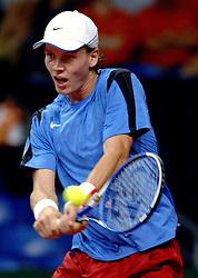 22-09-2006 TENNIS: DAVIS CUP: NEDERLAND - TSJECHIE: LEIDEN <br /> Tomas Berdych<br /> ©2006-WWW.FOTOHOOGENDOORN.NL