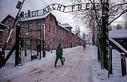 "The words ""Arbeit macht frei"" (""Work makes us free"") over the gate to the Auschwitz Nazi concentration camp. It is estimated that between 1.1 and 1.5 million Jews, Poles, Roma and others were killed here in the Holocaust between 1940-1945."