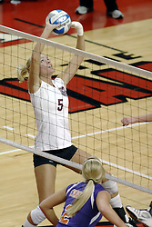24 November 2006: Katelyn Panzau sets the ball during a Quarterfinal match between the Evansville University Purple Aces and the Missouri State University Bears.The Tournament was held at Redbird Arena on the campus of Illinois State University in Normal Illinois.<br />