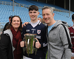 Balla&rsquo;s goalkeeper Niall Fadden with parents after  the Mayo Minor County A Final.<br /> Pic Conor McKeown