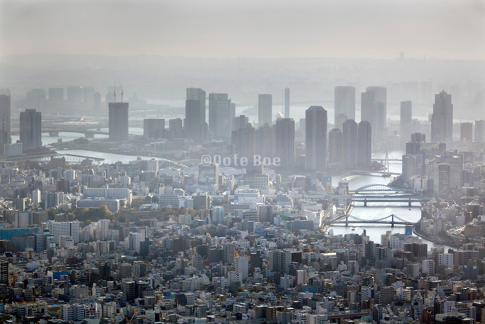 aerial view Tokyo High-rise riverside apartment buildings and Sumida river