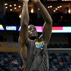 April 24, 2011; New Orleans, LA, USA;New Orleans Hornets center Emeka Okafor (50) prior to tip of game four of the first round of the 2011 NBA playoffs against the Los Angeles Lakers at the New Orleans Arena.    Mandatory Credit: Derick E. Hingle