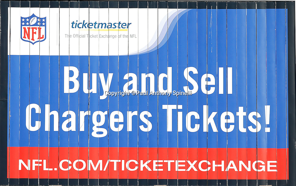 The San Diego Chargers scoreboard shows an advertisement for the buying and selling of game tickets during a NFL week 1 preseason football game against the Chicago Bears, Saturday, August 14, 2010 in San Diego, California. The Chargers won the game 25-10. (©Paul Anthony Spinelli)