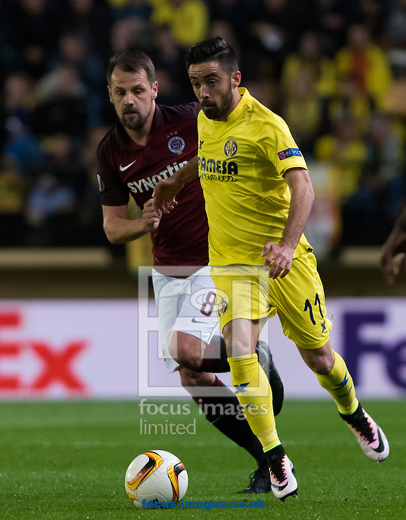 Jaume Costa of Villarreal CF and Marek Matejovsky of AC Sparta Prague during the UEFA Europa League quarter final match at Estadio El Madrigal, Villarreal<br /> Picture by Maria Jose Segovia/Focus Images Ltd +34 660052291<br /> 07/04/2016