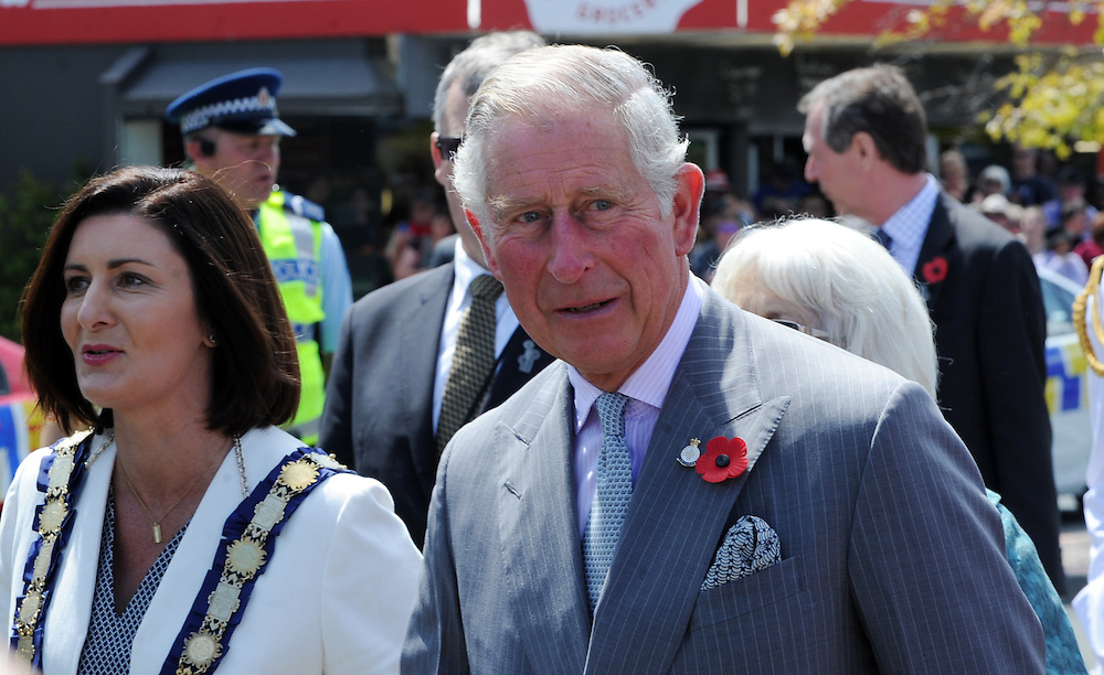Prince Charles ends his public walkabout in Nelson New Zealand, Saturday, November 07, 2015. Credit:SNPA / Ross Setford