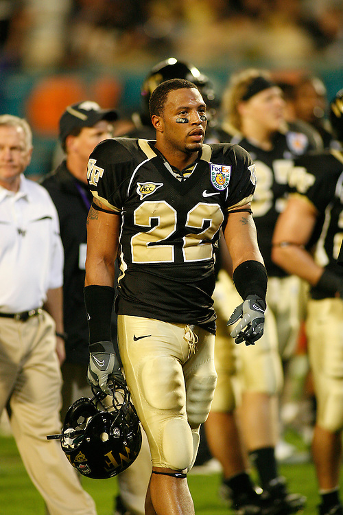 Wake Forest University defensive back Josh Gattis warms up before the Louisville Cardinals 24-13 victory over the Wake Forest Demon Deacons at the 2007 Orange Bowl Game on January 2, 2007 at the Dolphin Stadium in Miami, Florida.