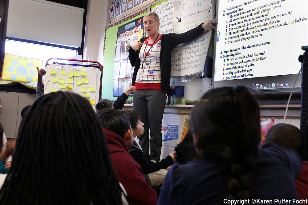 Ashley Cowsert  teaches her elementary school class. She is part of the Memphis Teacher Residency program and she is teaching in the Memphis public school, Kingsbury Elementary.