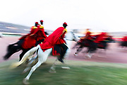 Horsemen from Burkina Faso gallop during the opening of the Panafrican Film and Television Festival at the Stadium 4 Aout in Ouagadougou, Burkina Faso 23 February 2013. The Panafrican Film and Television Festival of Ouagadougou known as FESPACO (Festival panafricain du cinema et de la television de Ouagadougou) is the largest film festival in Africa. The festival is the biggest regular cultural event on the African continent and it mostly focuses on African films and African filmmakers.