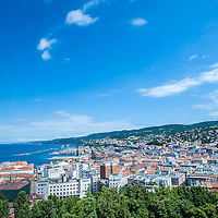 A view of the city and the Gulf from San Giusto in Trieste, Italy.