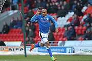 GOAL Calvin Andrew celebrates scoring the opening goal 0-1  during the The FA Cup 3rd round match between Doncaster Rovers and Rochdale at the Keepmoat Stadium, Doncaster, England on 6 January 2018. Photo by Daniel Youngs.