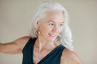 Portrait of yoga teacher Karen Tracy.