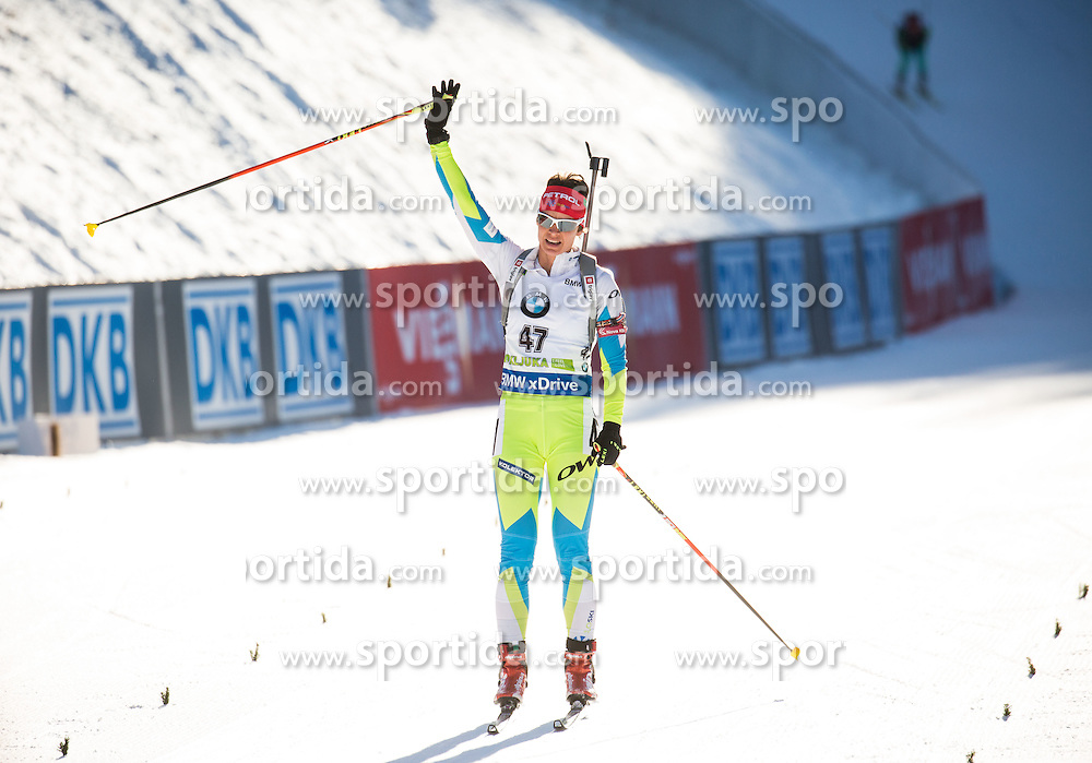 Teja Gregorin (SLO) at finish line during Women 10 km Pursuit at day 3 of IBU Biathlon World Cup 2015/16 Pokljuka, on December 19, 2015 in Rudno polje, Pokljuka, Slovenia. Photo by Vid Ponikvar / Sportida