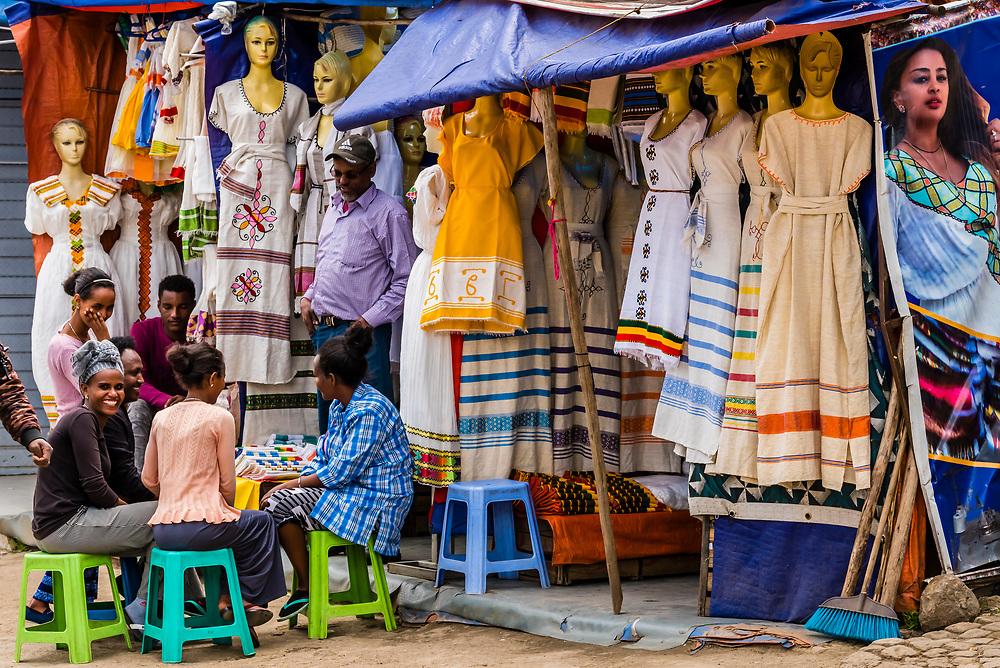 Traditional habesha kemis dresses in the market, Addis Ababa, Ethiopia.