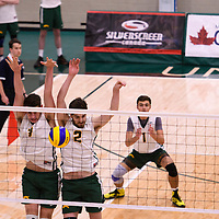 2nd year Right-Side hitter Matthew Aubrey (7) of the Regina Cougars and 2nd year middle blocker Conal McAinsh (2) of the Regina Cougars in action during the Women's Volleyball Home Game vs U of C Dinos on October21 at the CKHS University of Regina. Credit Arthur Ward/©Arthur Images 2017