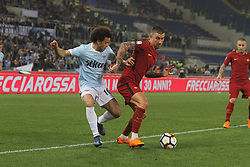 April 15, 2018 - Rome, Lazio, Italy - Felipe Anderson versus Alexsandar Kolarov.at Stadio Olimpico of Roma. Lazio and Roma tied for 0-0 the ''derby della Capitale'' of Italian Serie A. (Credit Image: © Paolo Pizzi/Pacific Press via ZUMA Wire)