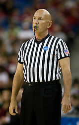 March 27, 2010; Sacramento, CA, USA; NCAA referee Clarke Stevens during the first half of the game between the Xavier Musketeers and the Gonzaga Bulldogs in the semifinals of the Sacramental regional in the 2010 NCAA womens basketball tournament at ARCO Arena.  Xavier defeated Gonzaga 74-56.
