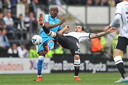 Benik Afobe Wolverhampton Wanderers,  battles with Derbys Bradley Johnson, Derby County v Wolves, Ipro Stadium, Sky Bet Championship, Sunday 18th October 2015 (Score Derby 4, Wolves, 1)Derby County v Wolves, Ipro Stadium, Sky Bet Championship, Sunday 18th October 2015 (Score Derby 4, Wolves, 1)