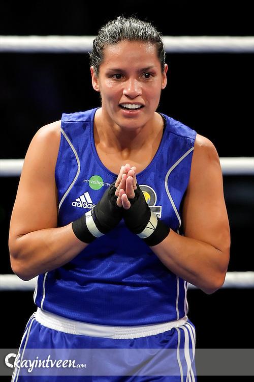ROTTERDAM - Boksen, Europees kampioenschap boksen vrouwen, Topsportcentrum Rotterdam, 22-10-2011, Marichelle de Jong wint de finale en is europees kampioen