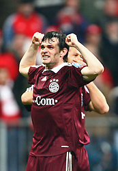 Munich, Germany - Wednesday, March 7, 2007: Bayern Munich's Willy Sagnol celebrates beating Real Madrid during the UEFA Champions League First Knock-out Round 2nd Leg at the Allianz Arena. (Pic by Christian Kolb/Propaganda/Hochzwei) +++UK SALES ONLY+++