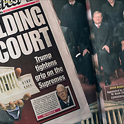 New York Pos cover headlines about  President Trump latest tweets.<br /> <br /> New York Post Headlines &quot;Holding Court&quot; &quot;Trump tightness grip on the Supremes&quot;