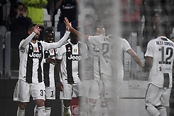 March 8, 2019 - Turin, Italy - Juventus forward Moise Kean (18) celebrates with his teammates after scoring his goal during the Serie A football match n.27 JUVENTUS - UDINESE on 08/03/2019 at the Allianz Stadium in Turin, Italy. (Credit Image: © Matteo Bottanelli/NurPhoto via ZUMA Press)