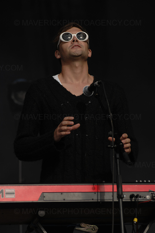 BALADO, KINROSS, SCOTLAND - JULY 8th 2007: Maximo Park perform live at T in the Park 2007.  Pictured singer Paul Smith.