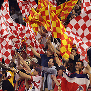 New York Red Bulls fans in action during the New York Red Bulls Vs Columbus Crew, Major League Soccer regular season match at Red Bull Arena, Harrison, New Jersey. USA. 12th July 2014. Photo Tim Clayton