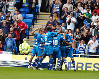 Photo: Leigh Quinnell.<br /> Reading v Sheffield United. Coca Cola Championship.<br /> 01/10/2005. Reading celebrate Brynjar Gunnarssons goal.