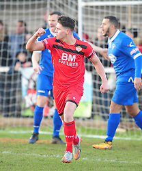 KETTERING  TOWN MATTHEW STEVENS  CELEBRATES AS STRATFORDS KEEPER LOUIS CONNOR TAKES THE BALL OVER THE LINE KETTERING FIRST GOAL, Kettering Town v Stratford Town Evo Stik Southern League Latimer Park, Saturday 9th December 2017. Score 2-0