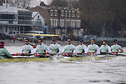 London, Great Britain, Cambridge, Listo in the opening stage of the BNY Mellon, 2016 University Men's Boat Race, Trail Eights Race.  Putney to Mortlake. ENGLAND. <br /> <br /> Sunday 13.12.2015<br /> <br /> [Mandatory Credit; Peter Spurrier/Intersport-images]<br /> <br /> CUBC Trial VIII's between FUERTE on Surrey and LISTO on Middlesex<br /> <br /> FUERTE, Bow, Peter Carey, 2, Patrick Elwood, 3, Alister Taylor, 4, Peter Rees, 5, Charlie Fisher, 6, Ali Abbasi, 7, Luke Juckett, Stroke, Lance Tredell, Cox, Ian Middleton<br /> <br /> LISTO, Bow, Piers Kasas, Felix Newman, 3, Sam Ringer, 4, Joe Carroll, 5, Clemens Auersperg, 6, Vincent Bertram, 7, Henry Hoffstot, Stroke, Ben Ruble, Cox, Hugo Ramambason