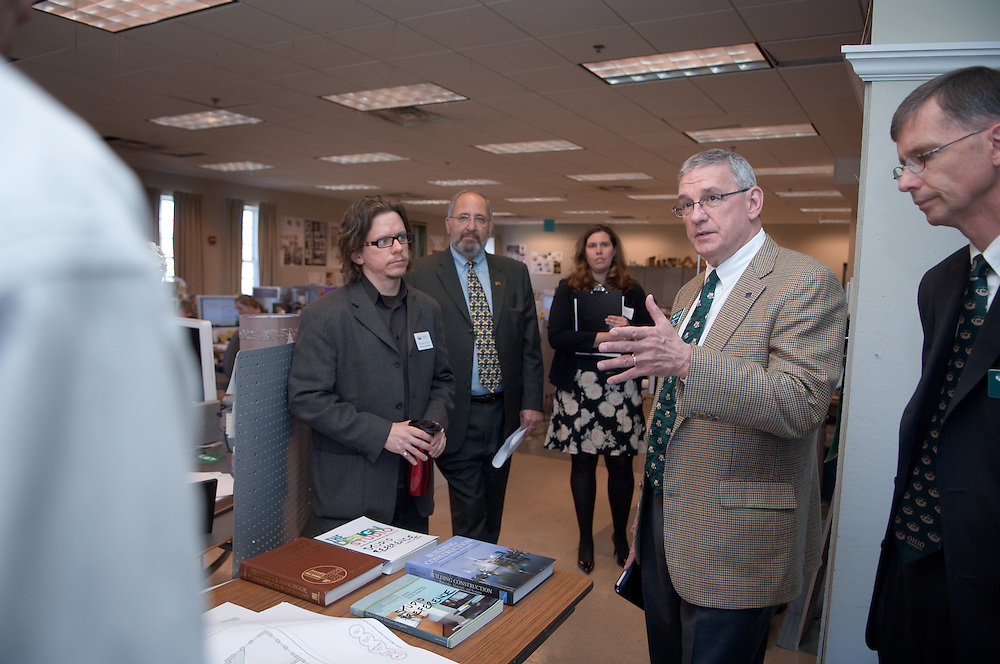 Board of trustees visiting The College of Health & Human Services.. Matthew Ziff shows trustees his architecture class.. Matthew Ziff,  Vincent Wojta, Dean Neiman, Gina Calcamuggio,Daniel DeLawder,Larry Schey