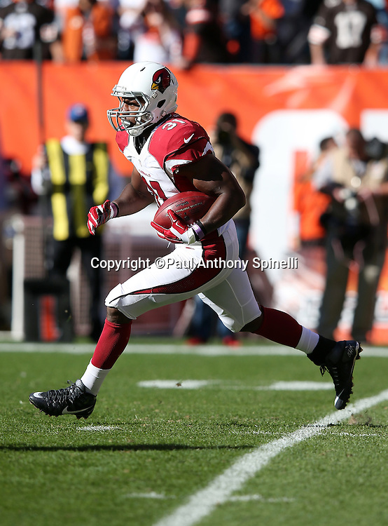 Arizona Cardinals running back David Johnson (31) returns a second quarter kickoff during the 2015 week 8 regular season NFL football game against the Cleveland Browns on Sunday, Nov. 1, 2015 in Cleveland. The Cardinals won the game 34-20. (©Paul Anthony Spinelli)