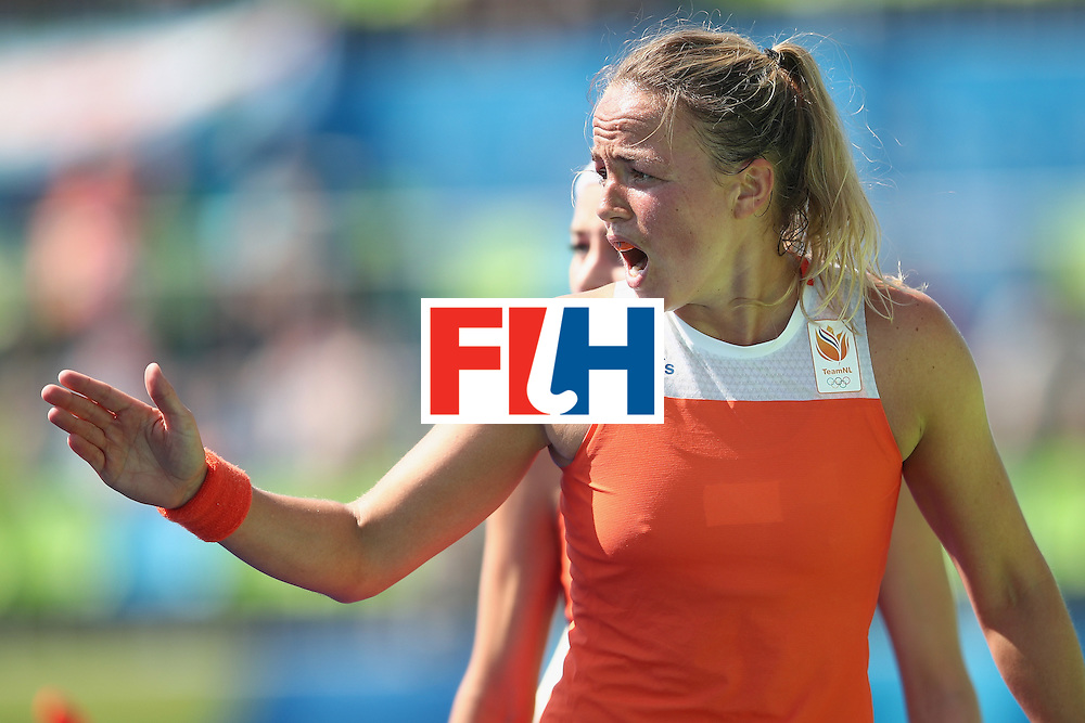 RIO DE JANEIRO, BRAZIL - AUGUST 17:  Maartje Paumen of Netherlands makes her point to the umpire during the womens semifinal match between the Netherlands and Germany on Day 12 of the Rio 2016 Olympic Games at the Olympic Hockey Centre on August 17, 2016 in Rio de Janeiro, Brazil.  (Photo by Mark Kolbe/Getty Images)