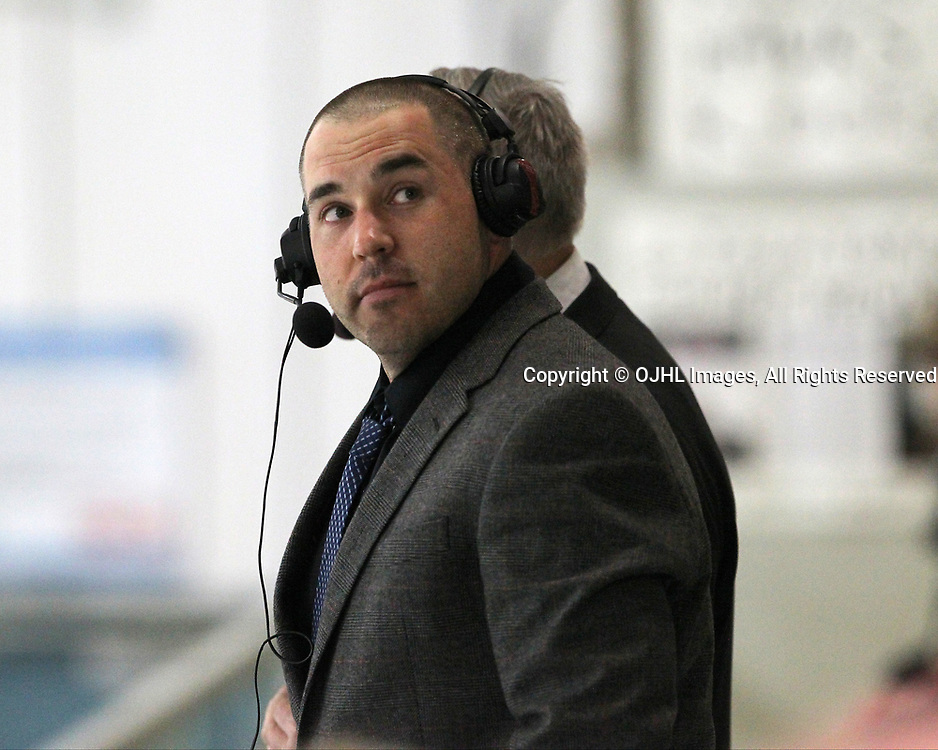 GEORGETOWN, ON  - APR 18,  2017: Ontario Junior Hockey League, Championship Series. Georgetown Raiders vs the Trenton Golden Hawks in Game 3 of the Buckland Cup Final. Georgetown Raiders broadcaster Alan Corkum during the first period. <br /> (Photo by Tim Bates / OJHL Images)