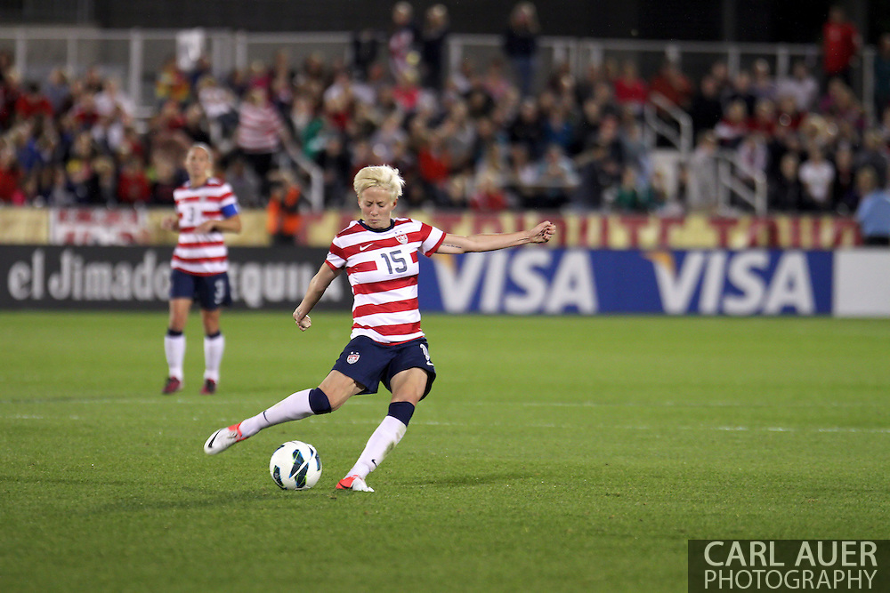 September 19, 2012 Commerce City, CO.  USA m Megan Rapinoe (15) takes a free kick during the Soccer Match between the USA Women's National Team and the Women's Australian team at Dick's Sporting Goods Park in Commerce City, Colorado