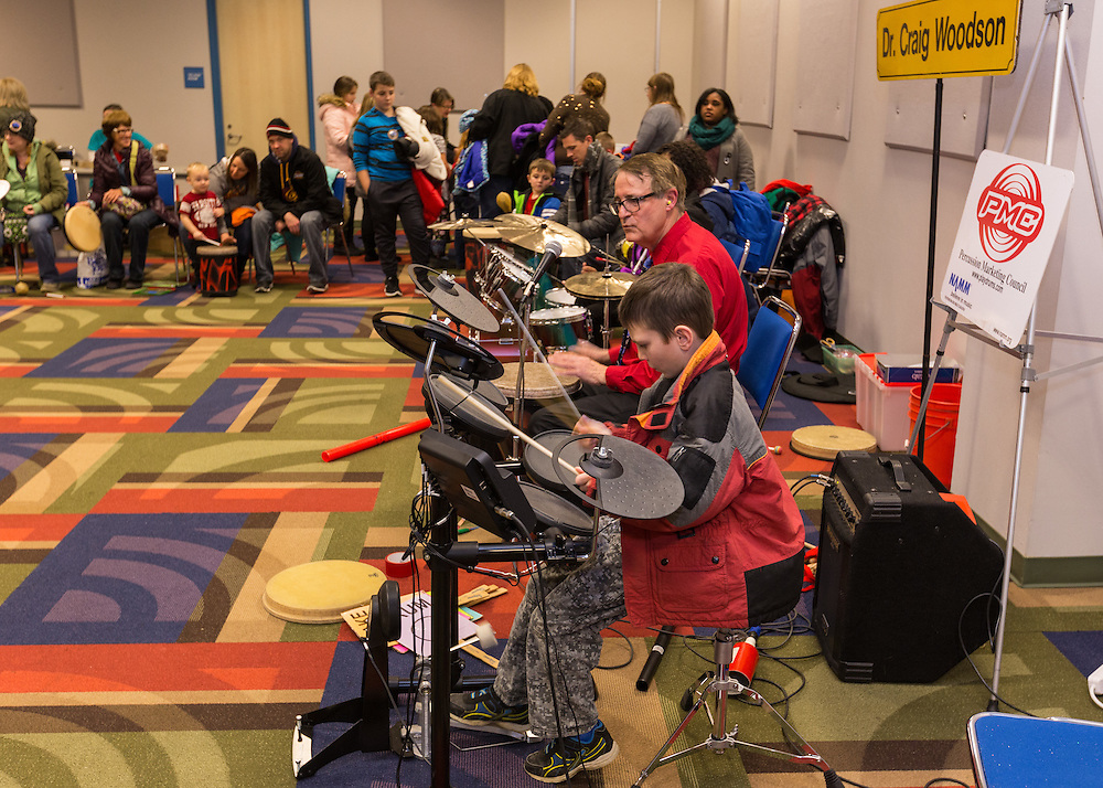 Drumpet activity in the JSK Center at First Night Akron 2017.