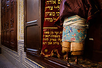 FEZ, MOROCCO - CIRCA APRIL 2017:  Interior of the Synagogue Ibn Danan  in Fez. Image of the old Torah Ark.