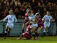 Sophie Tandy tackled, Army Women v U20 England Women at the Army Rugby Stadium, Aldershot, England, on 16th February 2017. Final score 15-38.