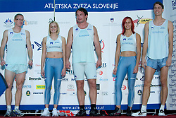 Matic Osovnikar, Sabina Veit, Primoz Kozmus, Nina Kolaric, Rozle Prezelj at fashion show of new jerseys of Slovenian Athletic National Team, on October 28, 2008, in Mercator center Siska, Ljubljana, Slovenia. (Photo by Vid Ponikvar / Sportal Images).