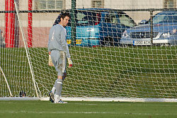 KIRKBY, ENGLAND - Tuesday, November 16, 2010: Liverpool's goalkeeper Brad Jones looks dejected after Blackpool score an equalising goal during the FA Premiership Reserves League (Northern Division) match at the Kirkby Academy. (Pic by: David Rawcliffe/Propaganda)