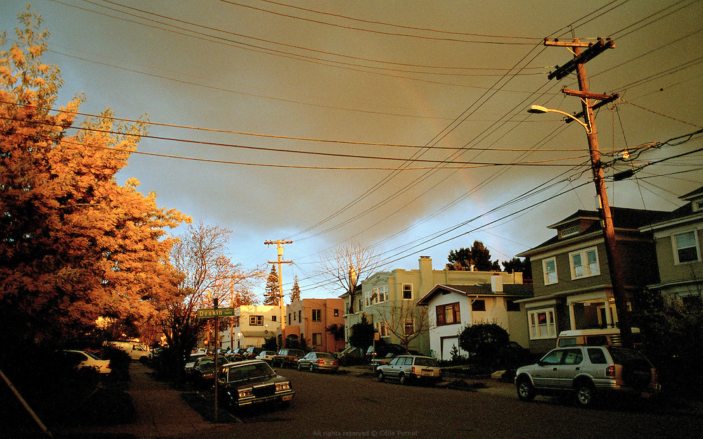 Deakin street under a rainbow, Oakland