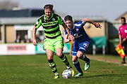 Forest Green Rovers Scott Laird(3) runs forward during the EFL Sky Bet League 2 match between Forest Green Rovers and Chesterfield at the New Lawn, Forest Green, United Kingdom on 21 April 2018. Picture by Shane Healey.