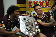 July 6th 2011: Corey Parker and Sam Thaiday pose for a phot with the trophy after game 3 of the 2011 State of Origin series at Suncorp Stadium in Brisbane, QLD, Australia on July 6, 2011. Photo by Matt Roberts / mattrimages.com.au / QRL