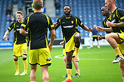 Burton Albion midfielder Hope Akpan (21) warms up during the EFL Sky Bet Championship match between Queens Park Rangers and Burton Albion at the Loftus Road Stadium, London, England on 23 September 2017. Photo by John Potts.