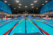 General inside view of the Aquatics Centre from the Lane 5 starting block during the World Para Swimming Championships 2019 Day 3 held at London Aquatics Centre, London, United Kingdom on 11 September 2019.
