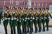 Tian'anmen Square (Place of Heavenly Peace). Flag lowering ceremony at sunset.