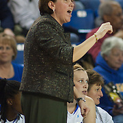11/11/11 Newark DE: Delaware Head Coach Tina Martin calls a play from the sidelines during a week one NCAA Women's College basketball game, Friday, Nov. 11, 2011 at the Bob carpenter center in Newark Delaware...Elena Delle Donne drops a game high 33 points as Delaware defeats the Rhode Island rams 89-53...Special to The News Journal/SAQUAN STIMPSON