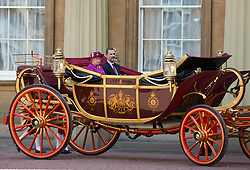 Queen Elizabeth II and King Felipe VI of Spain arrive by State Carriage at Buckingham Palace, London during the King's State Visit to the UK. Picture dated: Wednesday July 12, 2017. Photo credit should read: Isabel Infantes / EMPICS Entertainment.