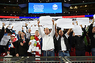 England fans sing the French national anthem during the Breast Cancer Care International Friendly match at Wembley Stadium, London<br /> Picture by Daniel Hambury/Focus Images Ltd +44 7813 022858<br /> 17/11/2015